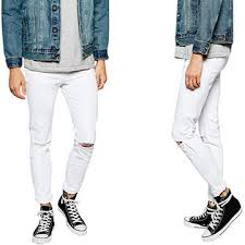 Ripped Knee Jeans Mens Super Skinny Fit Distressed Denim Jeans For Men With Rip Knee