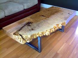 Coffee Table Legs Metal Handmade Live Edge Maple Burl Coffee Table With Square Metal Legs