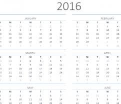 2016 one page calendar my excel templates