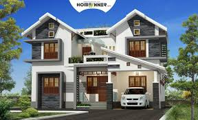 100 kerala home design 3d plan wide flat roof house with