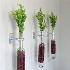 silver wine bottles 2 wine bottle wall flower vases cranberries wall