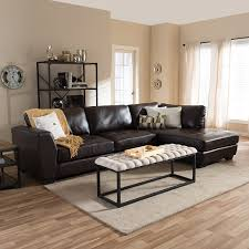 Living Room Black Leather Sofa Living Room Dark Leather Modern Sectional Sofa With Laminate Wood