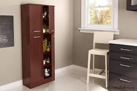 noticeable red brown wooden portable pantry closet faced off two