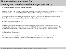 training and development manager cover letter