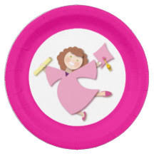 pink cap and gown pink graduation plates zazzle