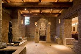 Stone And Wood Bathroom Design With Open Shower Stone Bathtub And - Open shower bathroom design