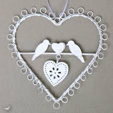 oiseaux en metal suspension decorative oiseau et coeur en bois blanc