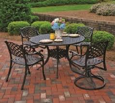 Patio Set With Swivel Chairs Newport By Hanamint 4 Seat Luxury Cast Aluminum Dining Set W