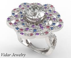 diamond flower rings images 2 ct diamond flower engagement ring vidar jewelry unique jpg