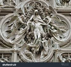 detail pieta scene basrelief milans cathedral stock photo