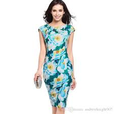 fashion designer women dress elegant floral print work business