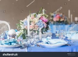 wedding decor table setting floral arrangements stock photo