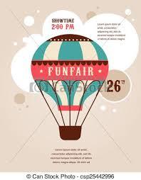 circus balloon vintage poster with vintage air balloon fair circus eps