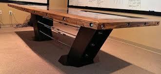 reclaimed wood game table steel beam reclaimed wood boardroom table industrial evolution