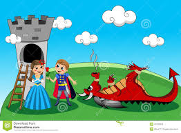 princess prince dragon tower rescue kids tale stock vector image