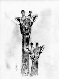 giraffe mom and baby drawing by lynn beazley blair