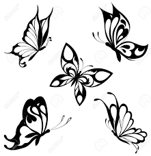design tattoo butterfly set black white butterflies of a tattoo royalty free cliparts