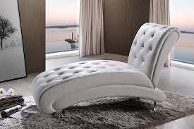 Upholstered Chaise Lounge Baxton Studio Pease Contemporary White Faux Leather Upholstered