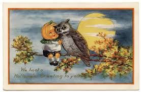 vintage halloween image cute pumpkin boy with owl the graphics