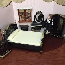 simulation d o chambre doub k 1 12 bois dollhouse meubles jouet simulation miniature noir