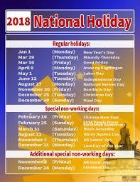 malacañang issues list of regular and special holidays for year