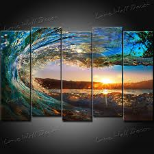 home decor free shipping wall art designs beach wall art 5 pieces sunset on the beach with
