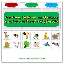 carnivore herbivore and omnivore sort cut and paste activity for