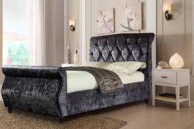 Velvet Sleigh Bed Chesterfield Velvet Diamante Sleigh Bed 3 Sizes