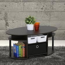 furinno jaya walnut and black built in storage coffee table