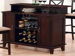 dark brown polished solid wood portable counter bar with licquor