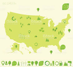 United States Map Clip Art by High Detailed United States Map Ecology Eco Icons Stock Vector Art