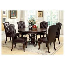 sun u0026 pine 7pc elegant round table leather dining set wood brown