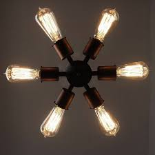 antique light bulb fixtures circle 6 bulb vintage edison industrial lighting ceiling