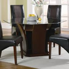 Brown Wooden Base With Octagon Glass Dining Table Combined With - Octagon kitchen table
