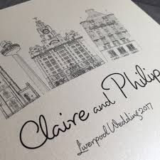 wedding invitations liverpool liverpool skyline wedding invite available in various colours