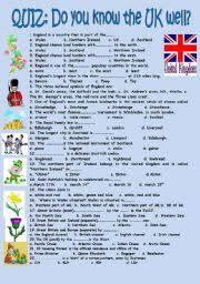 printable quizzes uk english exercises the united kingdom quiz