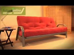 futon metal sofa bed futons online show a 3 seater metal futon sofabed youtube