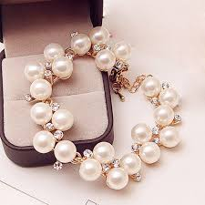 charm bracelet pearl images High quantity charm bracelets golden simulated pearl crystal beads jpg