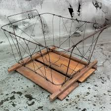 and wood wire and wood bike crate basket inkwell helmets