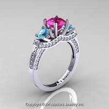 Pink Wedding Rings by French 14k White Gold Three Stone Pink Sapphire Blue Topaz Diamond