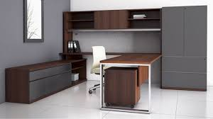 modern at two u shaped desk with overhead storage credenza