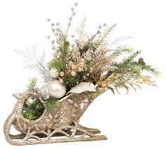 Fake Flower Centerpieces Holiday Sleigh Centerpiece Traditional Artificial Flower