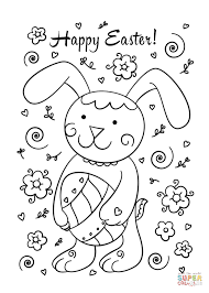 happy easter bunny coloring free printable coloring pages