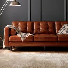 Mid Century Modern Leather Sofa Darrin 89 Leather Sofa With Tufted Cushions And Mid Century