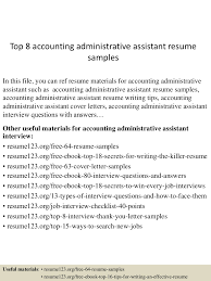 Resume Samples For Accounting by Top8accountingadministrativeassistantresumesamples 150507085154 Lva1 App6891 Thumbnail 4 Jpg Cb U003d1430988744