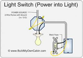 wiring a light switch power into light