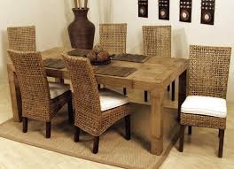 dining room chocolate with round glass wicker dining chairs for
