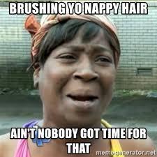 Nappy Hair Meme - brushing yo nappy hair ain t nobody got time for that ain t nobody