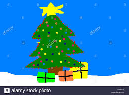 christmas tree and gifts child u0027s drawing on the computer stock
