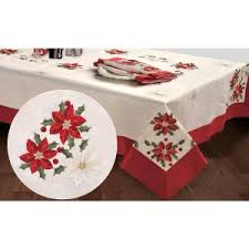 chi embroidered poinsettia square 36 in tablecloth topper
